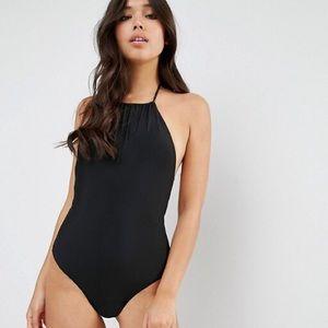 ASOS • Black Halter One Piece Bathing Suit